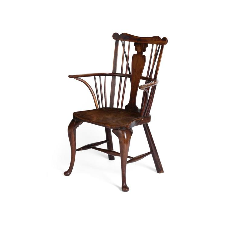 Georgian Yew And Elm Comb Back Windsor Armchair Thames Valle