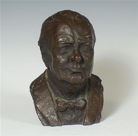 A bronze resin bust of Winston Churchill By Franta Belsky (1921-2000) 12cm high