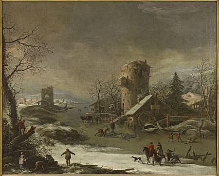 ADAM DE COLONIA (DUTCH 1634-1685) A SNOW COVERED RIVER LANDSCAPE WITH FIGURES AND ANIMALS 86.5cm x 104cm (34in x 41in)