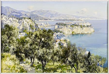 GABRIEL DESCHAMPS (FRENCH 20TH CENTURY) MONACO 61cm x 91cm (24in x 36in)