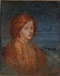PHOEBE ANNA TRAQUAIR (1852-1936) PORTRAIT OF A GIRL 24.5cm x 20cm