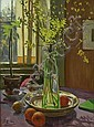 THOMAS CORSAN MORTON (SCOTTISH 1859 - 1928) STILL LIFE WITH FORSYTHIA 55cm x 41cm (21.45in x 15.99in), Thomas Corsan Morton, Click for value