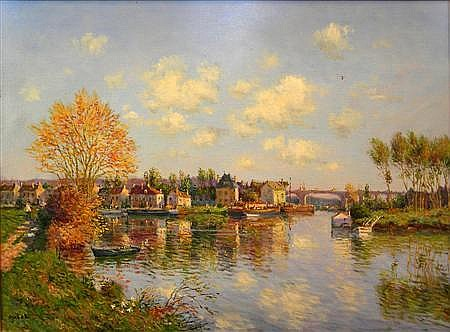 § LAURENT VIALET (FRENCH B. 1967) AUTOMNE A PONT CROIX 52cm x 71cm (20.28in x 27.69in)