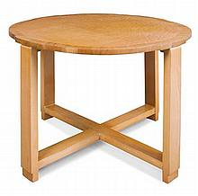 ART DECO NEST OF BURR MAPLE OCCASIONAL TABLES, CIRCA 1930 75cm diameter, 54cm high, small tables 32cm across, 50cm high