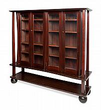 MANNER OF JAMES SALMON JR. STAINED POPLAR GLASGOW STYLE DISPLAY CABINET, CIRCA 1900 154.5cm wide, 149cm high, 39.5cm deep