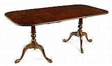 EARLY GEORGE III STYLE WALNUT AND CROSSBANDED TWIN PEDESTAL DINING TABLE 183cm wide, 78cm high, 91cm deep