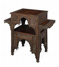 INDIAN CARVED ROSEWOOD TABLE 19TH CENTURY 77cm wide, 71cm high, 39.5 deep
