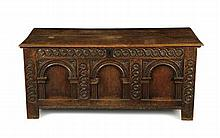 CARVED OAK BLANKET CHEST 18TH CENTURY STYLE 141cm wide, 63cm high, 58cm deep