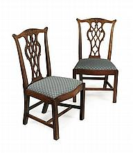 PAIR GEORGE III MAHOGANY DINING CHAIRS 53cm wide, 97cm high, 40cm deep