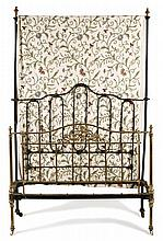 VICTORIAN BRASS AND IRON DOUBLE BED