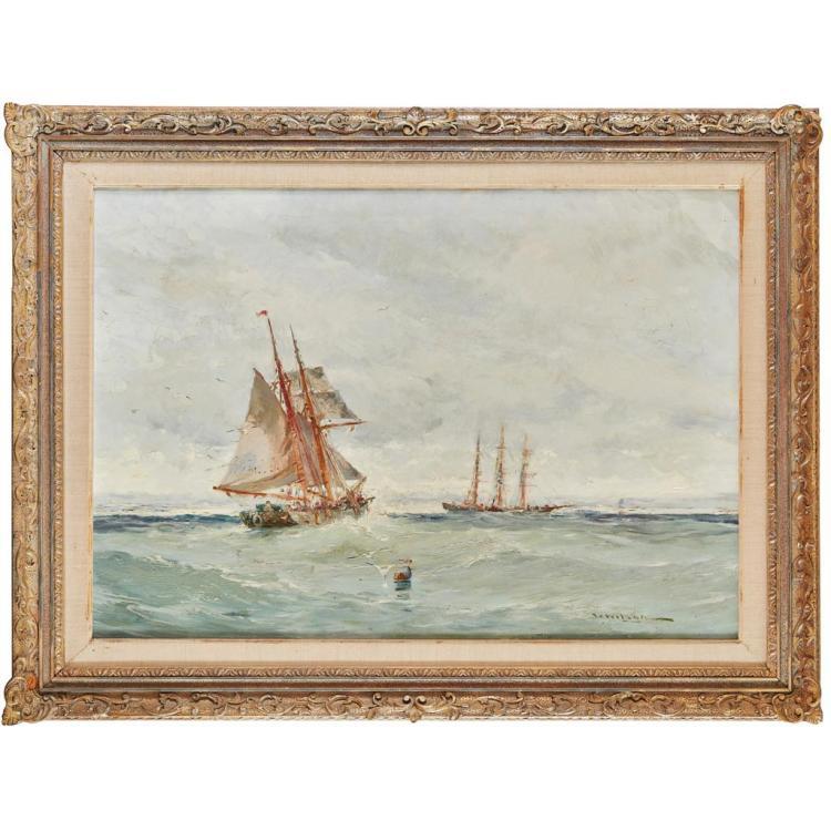 WILLIAM WILSON (SCOTTISH FL.1884-1892) FISHING VESSEL AND MERCHANTMAN OFF THE COAST 61.5cm x 91.5cm (24in x 36in)