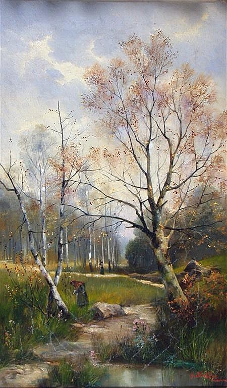 **GEORGE** HALLER (1907 - 1960) AMONGST THE BIRCHES 51cm x 30cm