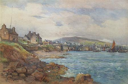 JAMES KINNEAR (19TH CENTURY) VIEW OF THE HARBOUR, STROMNESS, ORKNEY 50cm x 75cm