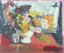 GEORGES LAMBERT (1919-1998) CRYSANTEMES 53cm x 63.5cm