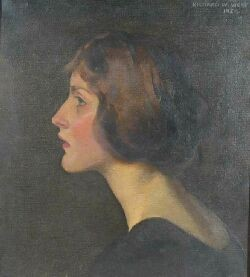 RICHARD WILLIAM WEST (1887-1970) PORTRAIT OF A LADY 42cm x 38cm