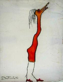 PATRICIA DOUTHWAITE (1939-2002) BIRD-WOMAN 65cm x 50cm