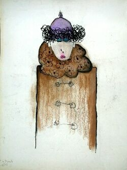 PATRICIA DOUTHWAITE (1939-2002) THE PURPLE HAT 76cm x 56cm