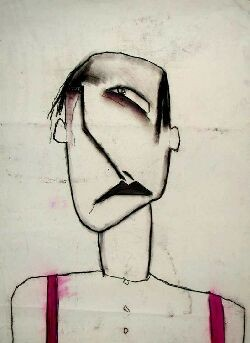 PATRICIA DOUTHWAITE (1939-2002) CRYING HEAD 75cm x 55cm