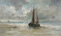 GEORGE PAUL CHALMERS R.S.A., R.S.W. (1833-1878) BEACHED FISHING BOATS 28cm x 45cm