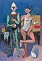 ALBERTO MORROCCO R.S.A., R.S.W., R.P., R.G.I., L.L.D (1917-1998) SALTIMBANCHI 157cm(62in) x 106.5cm(42in), Alberto Morrocco, Click for value