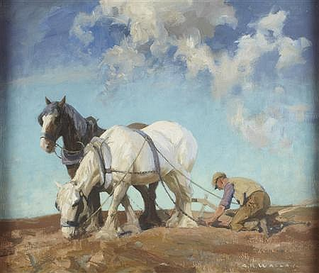§ ARCHIBALD RUSSELL WATSON ALLAN R.S.A (SCOTTISH 1878-1959) THE PLOUGH TEAM 61cm x 75cm (24in x 30in)