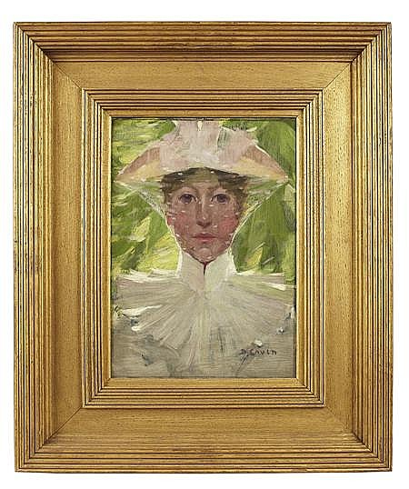 DAVID GAULD R.S.A (SCOTTISH 1865-1936) THE NEW BONNET 35.5cm x 25.5cm (14in x 10in)