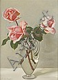 § JOHN BULLOCH SOUTER (SCOTTISH 1890-1972) STILL LIFE OF PINK ROSES 41cm x 31cm (16in x 12in)
