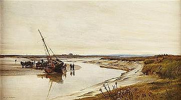 CHARLES WILLIAM WYLLIE S.B.A (BRITISH 1853-1923) HADLEIGH BAY 46cm x 81.5cm (18in x 32in)