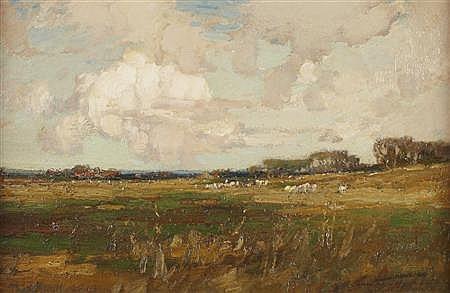 KERSHAW SCHOFIELD (BRITISH 1872-1941) SHEEP GRAZING IN A MEADOW 51cm x 76cm (20in x 30in)