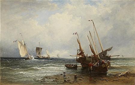 EDMUND THORNTON CRAWFORD R.S.A (1806-1885) WAITING FOR THE TIDE 61cm x 97cm (24in x 38.25in)