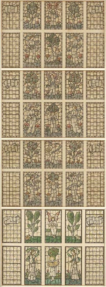 SELWYN IMAGE (1844-1930) FOUR DESIGNS FOR STAINED GLASS Each panel 15cm x 23.5cm