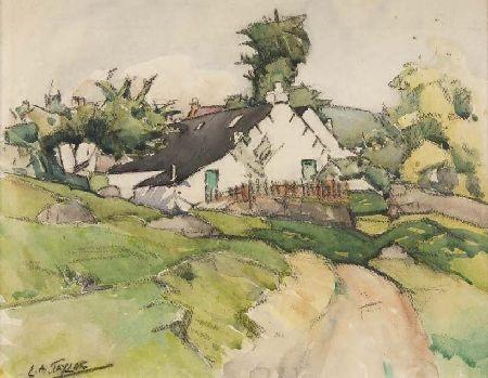 ERNEST ARCHIBALD TAYLOR (1874 - 1951) COTTAGE IN A LANDSCAPE 26cm x 34cm