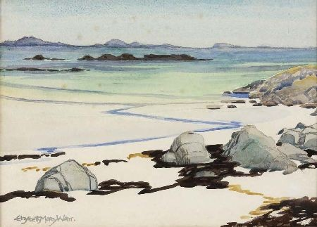 ELIZABETH MARY WATT (1886-1954) WEST COAST BEACH SCENE 28cm x 38cm