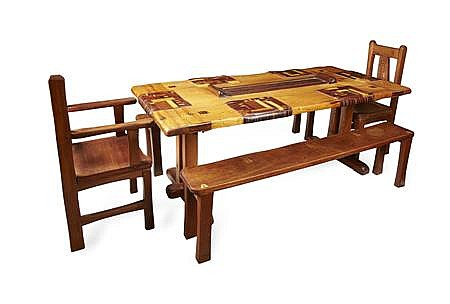 TIM STEAD (1952-2000) PINE, MAHOGANY AND SPECIMEN WOOD DINING ROOM SUITE, LATE 1980S