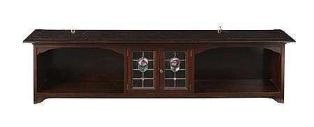 ERNEST ARCHIBALD TAYLOR (1874-1951) FOR WYLIE & LOCHHEAD MAHOGANY HANGING WALL CABINET, CIRCA 1900 146cm wide, 38cm high, 25cm deep
