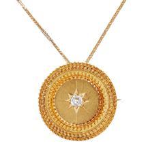 A Victorian diamond set pendant brooch Diameter: 32mm