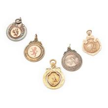 FOOTBALL INTEREST - A group of five football medals Total weight: 34g