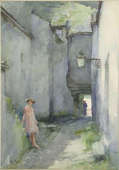 DAVID FOGGIE R.S.A., R.W.S. (1878-1948) CLOSE IN ANSTRUTHER 37cm x 26cm