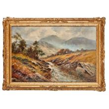 [§] ALFRED DE BREANSKI (BRITISH 1877-1955) EARLY MORN TAVY CLEAUR,DARTMOOR 51cm x 76cm (20in x 30in)