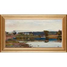 JOHN BUXTON KNIGHT (BRITISH 1843-1908) THE TWEED AT KELSO 44cm x 90cm (18in x 36in)