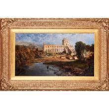 CHARLES PETTIT (BRITISH, ACTIVE 1855-1860) JEDBURGH ABBEY 51cm x 91.5cm (20in x 36in)