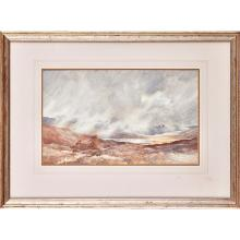 PERCY FRENCH (IRISH 1854-1920) MISTY MORNING, CONNEMARA 32cm x 51cm 12.5in x 20in)