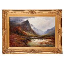 [§] ALFRED DE BREANSKI JUNIOR (BRITISH, 1877-1955) THE SLOPES OF BEN VENUE, N.B. 51cm x 76cm (20in x 30in)