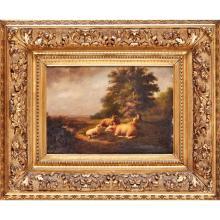 EUGENE VERBOECKHOVEN (BELGIAN, 1798-1881) SHEEP IN A LANDSCAPE 24cm x 25.5cm (9.5in x 14in)