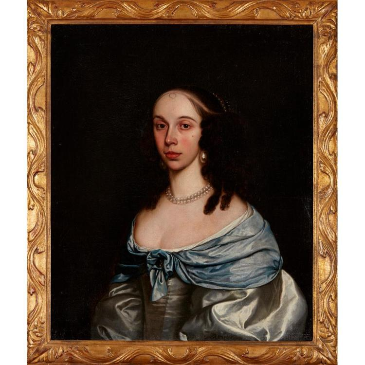 ATTRIBUTED TO WILLIAM CLARET (BRITISH 1646-1706) PORTRAIT OF A LADY IN A BLUE DRESS 76cm x 63.5cm (30in x 25in)