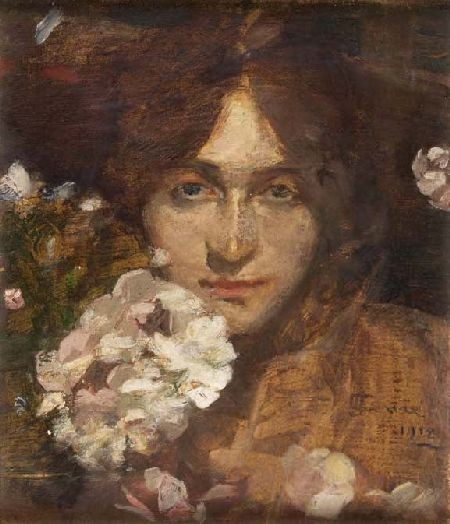 JAMES COWIE R.S.A., L.L.D (1886-1956) PORTRAIT STUDY OF A YOUNG WOMAN WITH FLOWER BLOOMS 19cm x 16cm (7.5in x 6.5in)