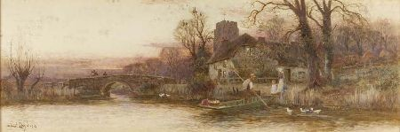 WALTER STUART LLOYD R.B.A A RIVER LANDSCAPE WITH FIGURES AND FERRY 30cm x 91cm (12in x 36in) and a companion a pair (2)
