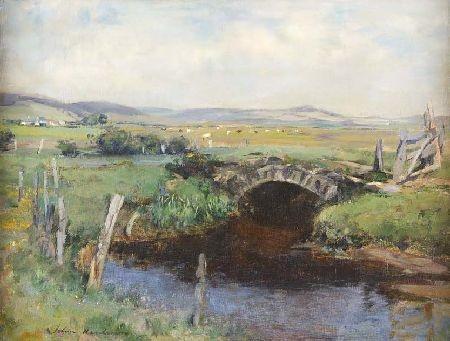 JOHN HENDERSON (1860-1924) BRIDGE OVER A STREAM 46cm x 61cm (18in x 20in)