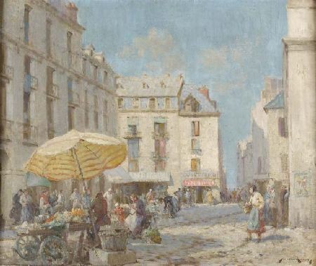 WILLIAM LEE HANKEY (1869-1952) THE FLOWER MARKET IN A FRENCH TOWN 51cm x 61cm (20in x 24in)