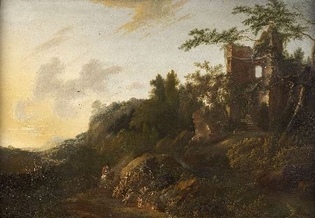 JAN SONJE (1625-1707) HORSEMAN ON A WOODED MOUNTAIN ROAD LEADING TO RUINS 72cm x 104cm (28.5in x 41in)